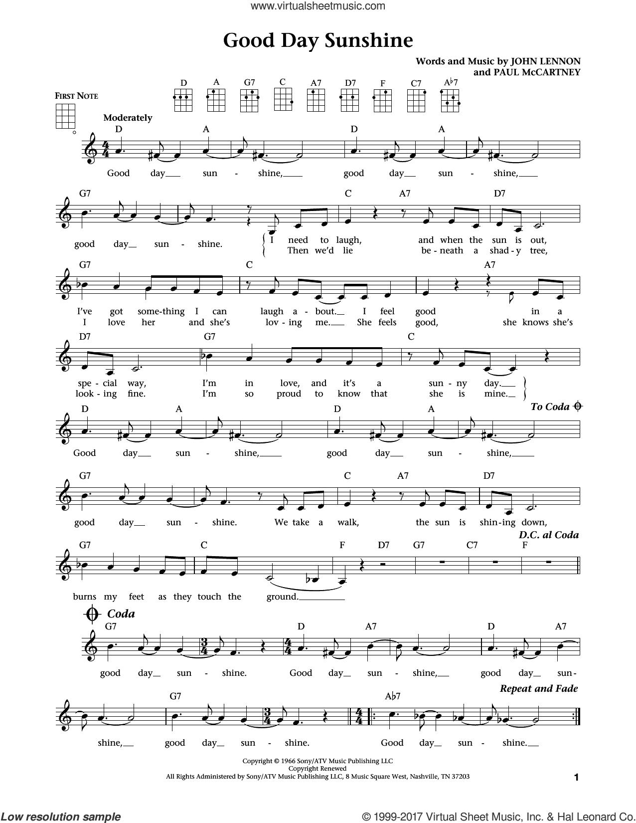 Good Day Sunshine (from The Daily Ukulele) (arr. Liz and Jim Beloff) sheet music for ukulele by The Beatles, Jim Beloff, Liz Beloff, John Lennon and Paul McCartney, intermediate skill level