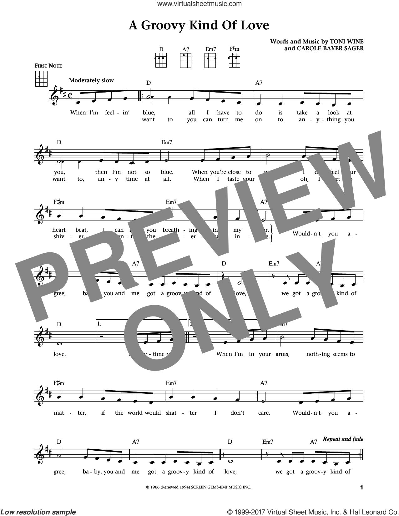 A Groovy Kind Of Love sheet music for ukulele by The Mindbenders, Jim Beloff, Liz Beloff, Phil Collins and Carole Bayer Sager, intermediate skill level