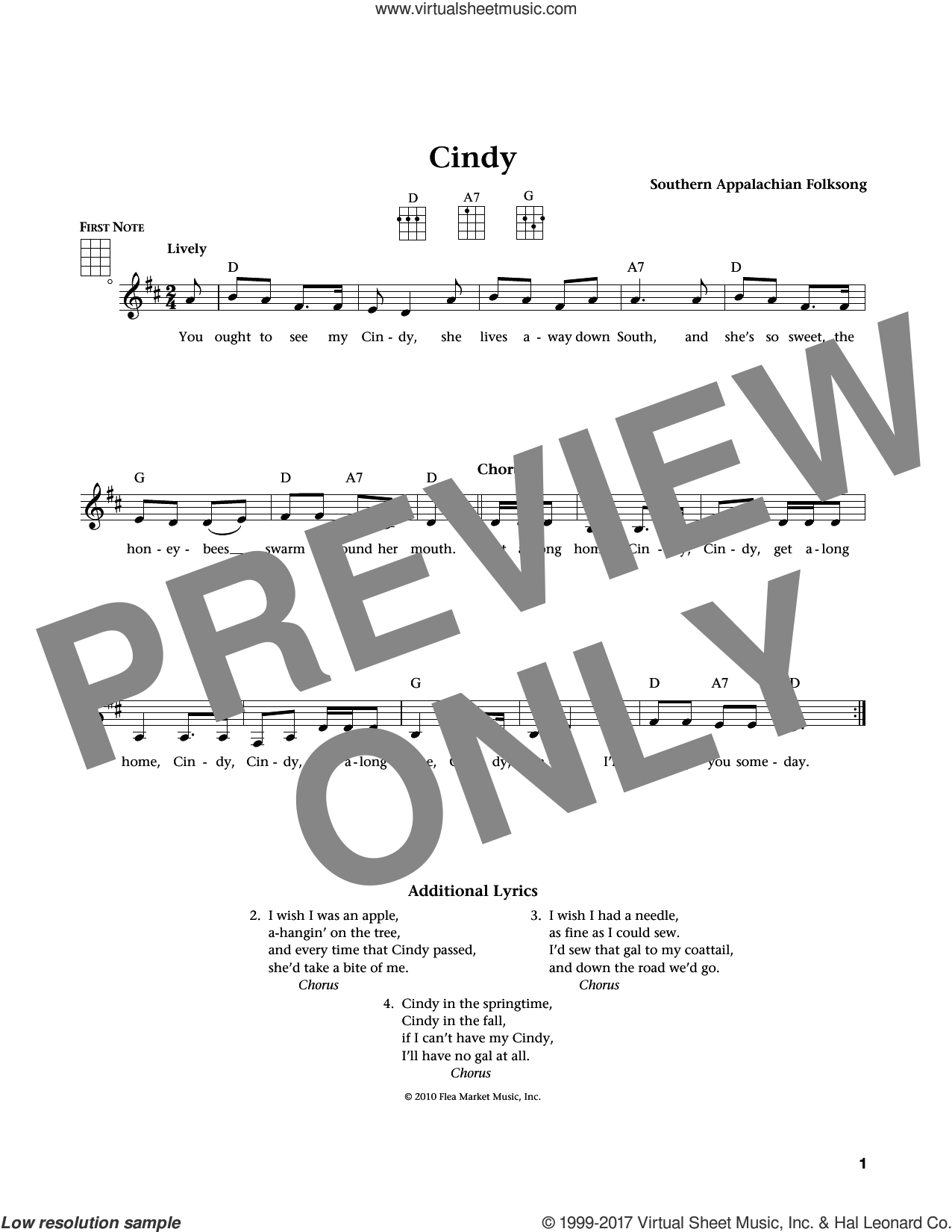 Cindy sheet music for ukulele by Southern Appalachian Folksong, intermediate. Score Image Preview.