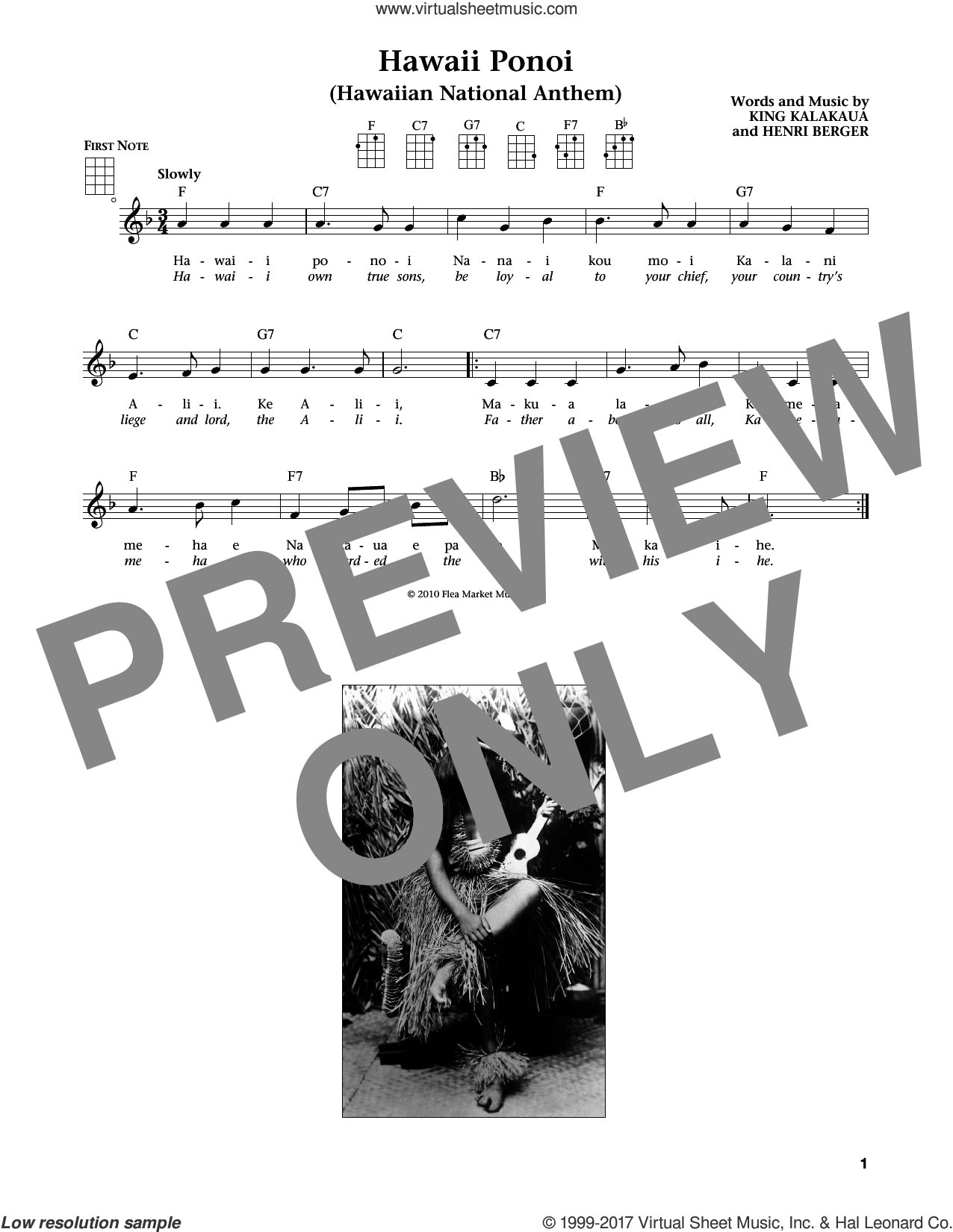 Hawaii Ponoi sheet music for ukulele by Henri Berger, Jim Beloff, Liz Beloff and King Kalakaua, intermediate. Score Image Preview.