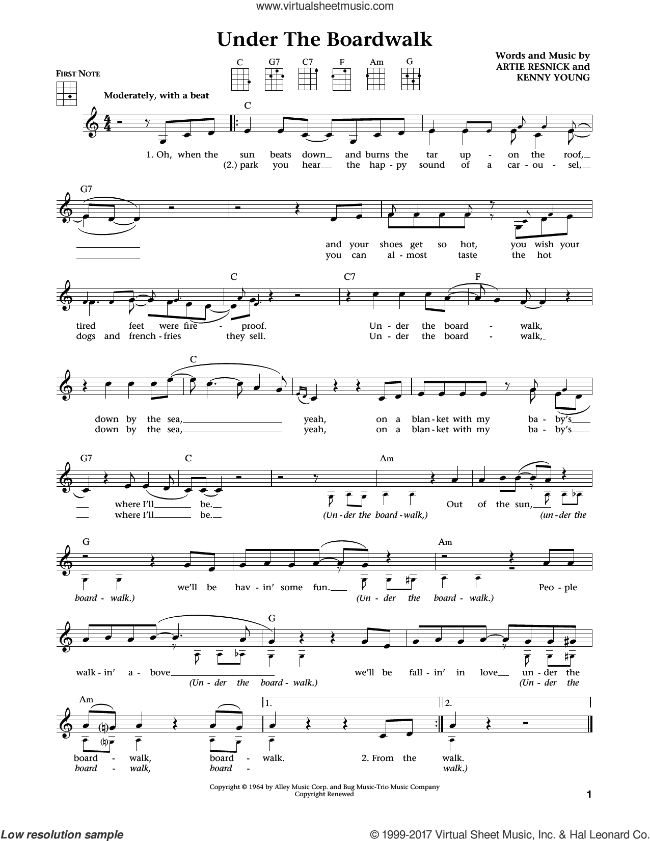Under The Boardwalk sheet music for ukulele by The Drifters, Jim Beloff and Liz Beloff, intermediate skill level