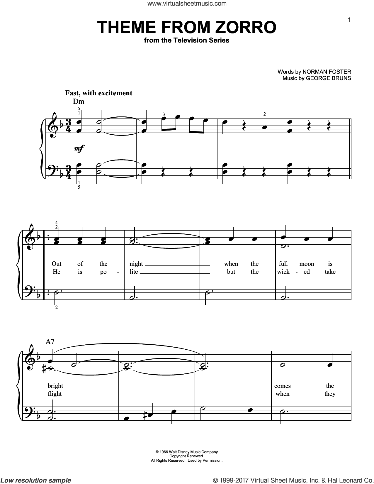 Theme From Zorro sheet music for piano solo by George Bruns and Norman Foster, easy skill level