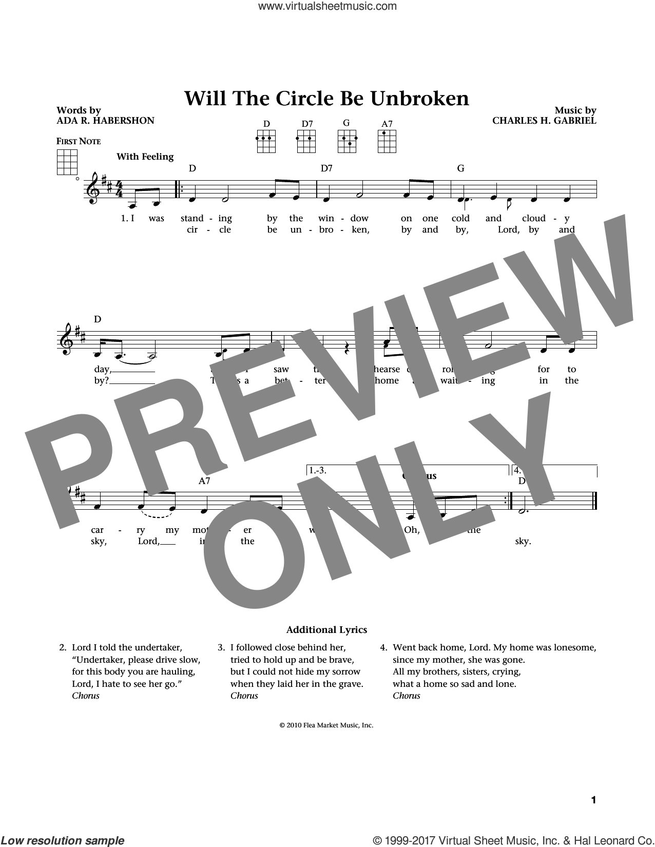 Will The Circle Be Unbroken sheet music for ukulele by Charles H. Gabriel, Jim Beloff, Liz Beloff and Ada R. Habershon, intermediate skill level
