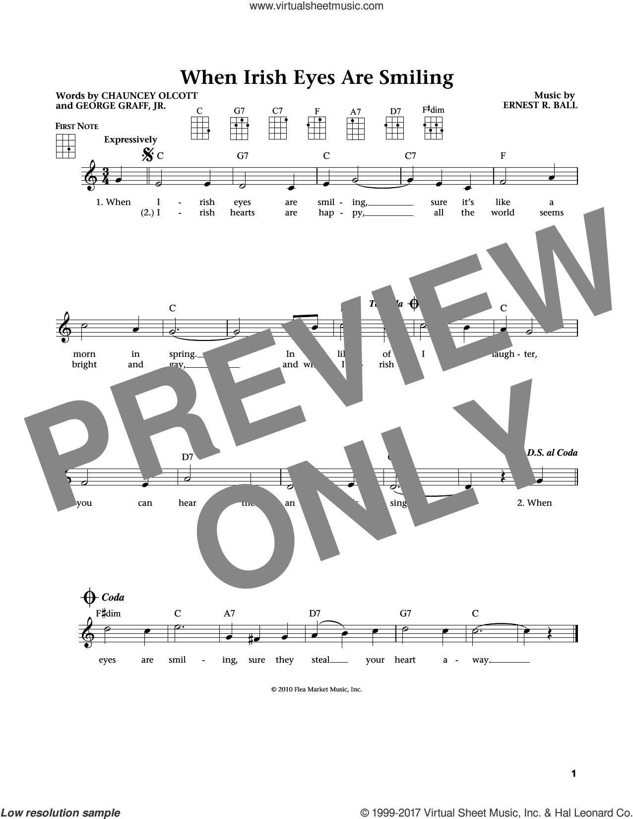 When Irish Eyes Are Smiling sheet music for ukulele by Chauncey Olcott, Jim Beloff, Liz Beloff, Ernest R. Ball and George Graff Jr., intermediate. Score Image Preview.