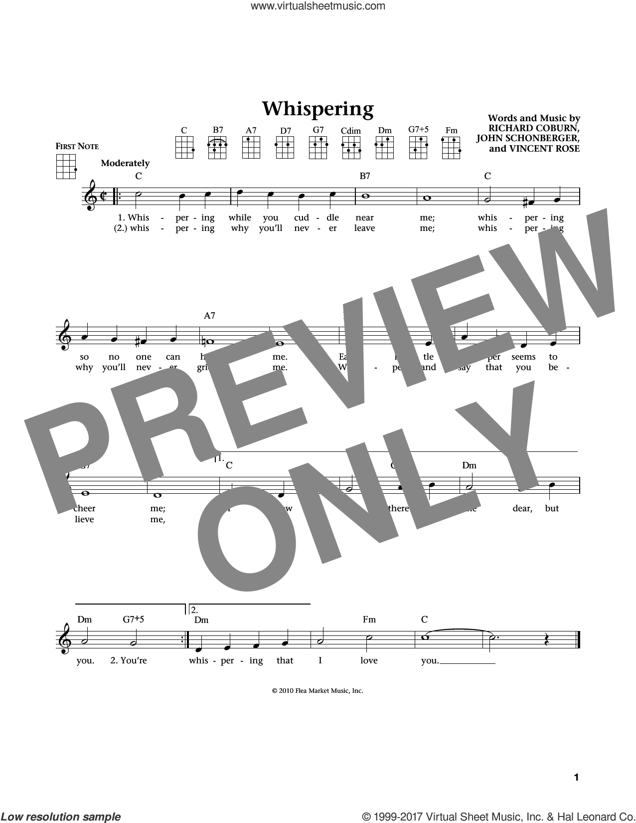 Whispering (from The Daily Ukulele) (arr. Liz and Jim Beloff) sheet music for ukulele by Vincent Rose, Jim Beloff, Liz Beloff, John Schonberger and Richard Coburn, intermediate skill level