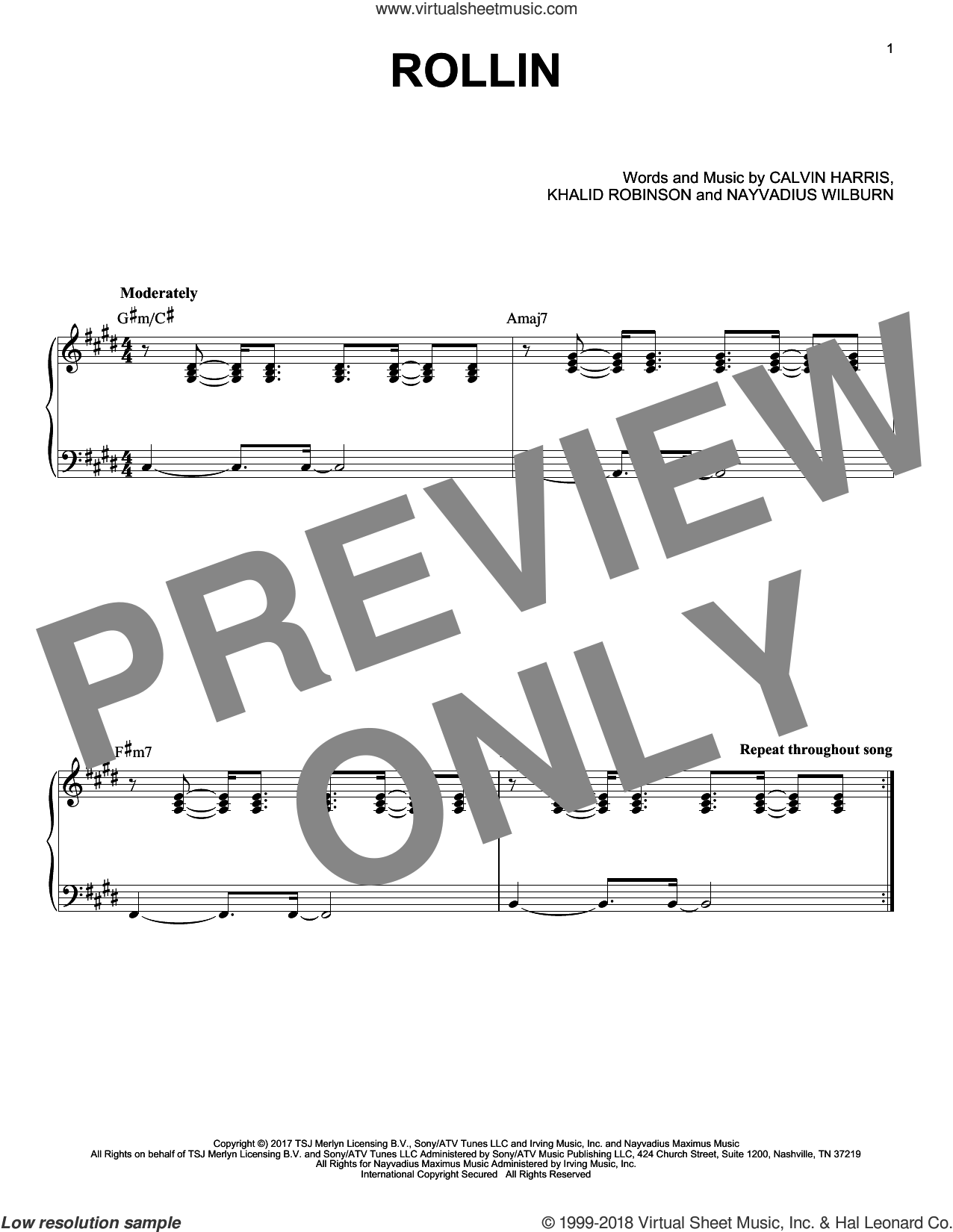 Rollin sheet music for piano solo by Calvin Harris feat. Future and Khalid and Calvin Harris, intermediate
