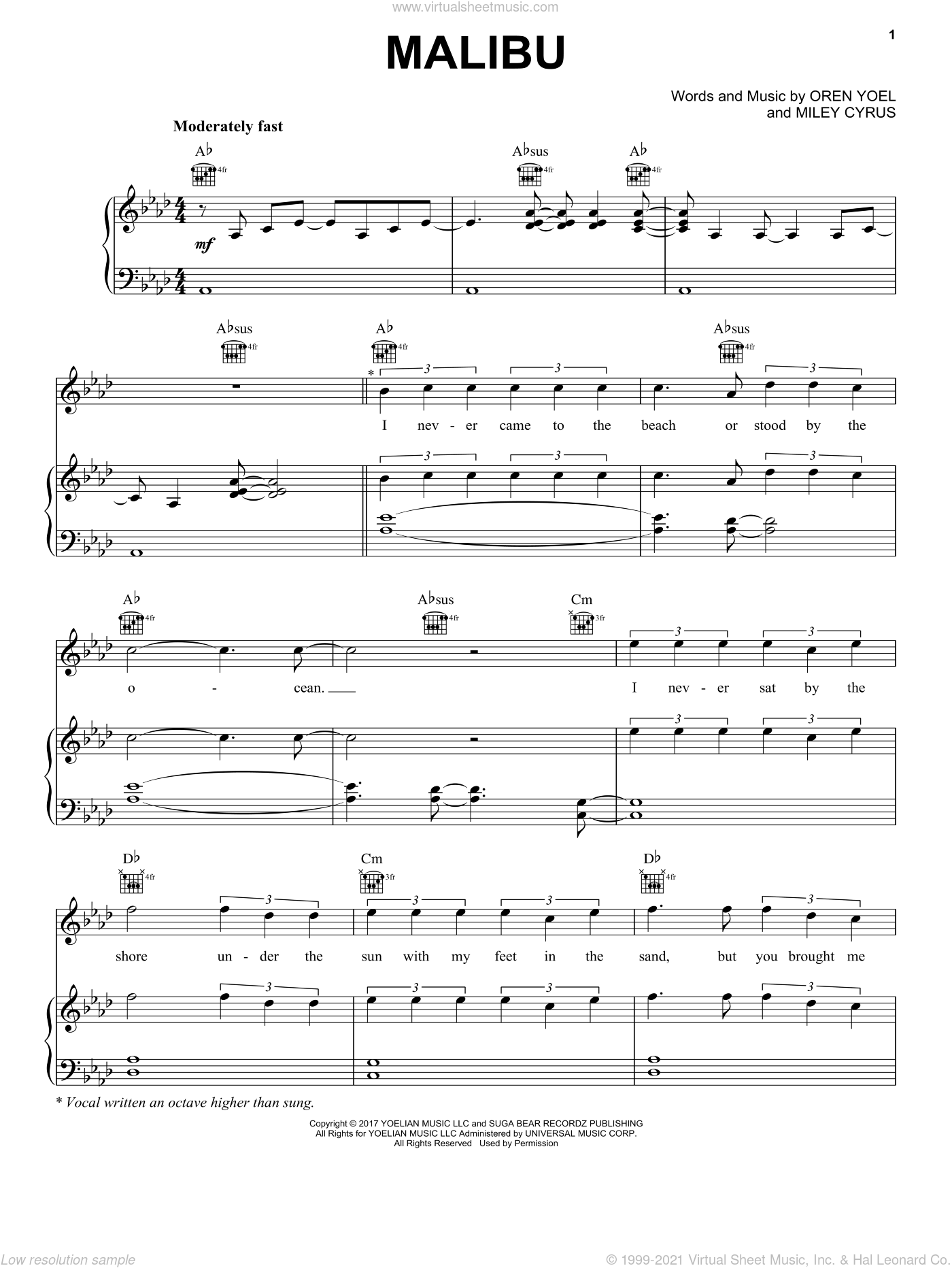 Malibu sheet music for voice, piano or guitar by Miley Cyrus. Score Image Preview.