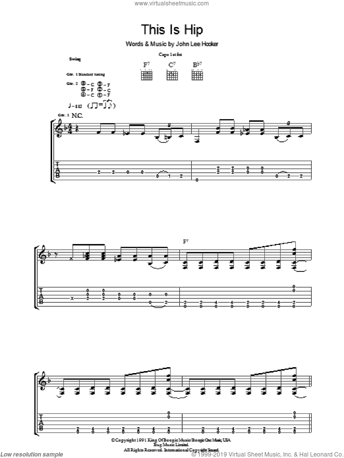 This Is Hip sheet music for guitar (tablature) by John Lee Hooker