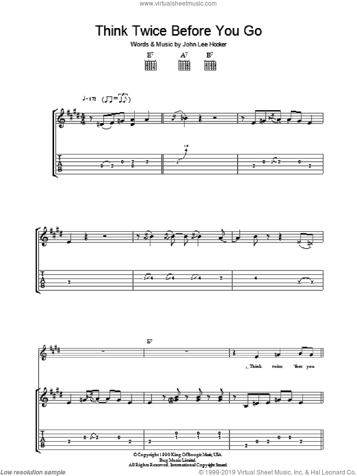 Think Twice Before You Go sheet music for guitar (tablature) by John Lee Hooker. Score Image Preview.