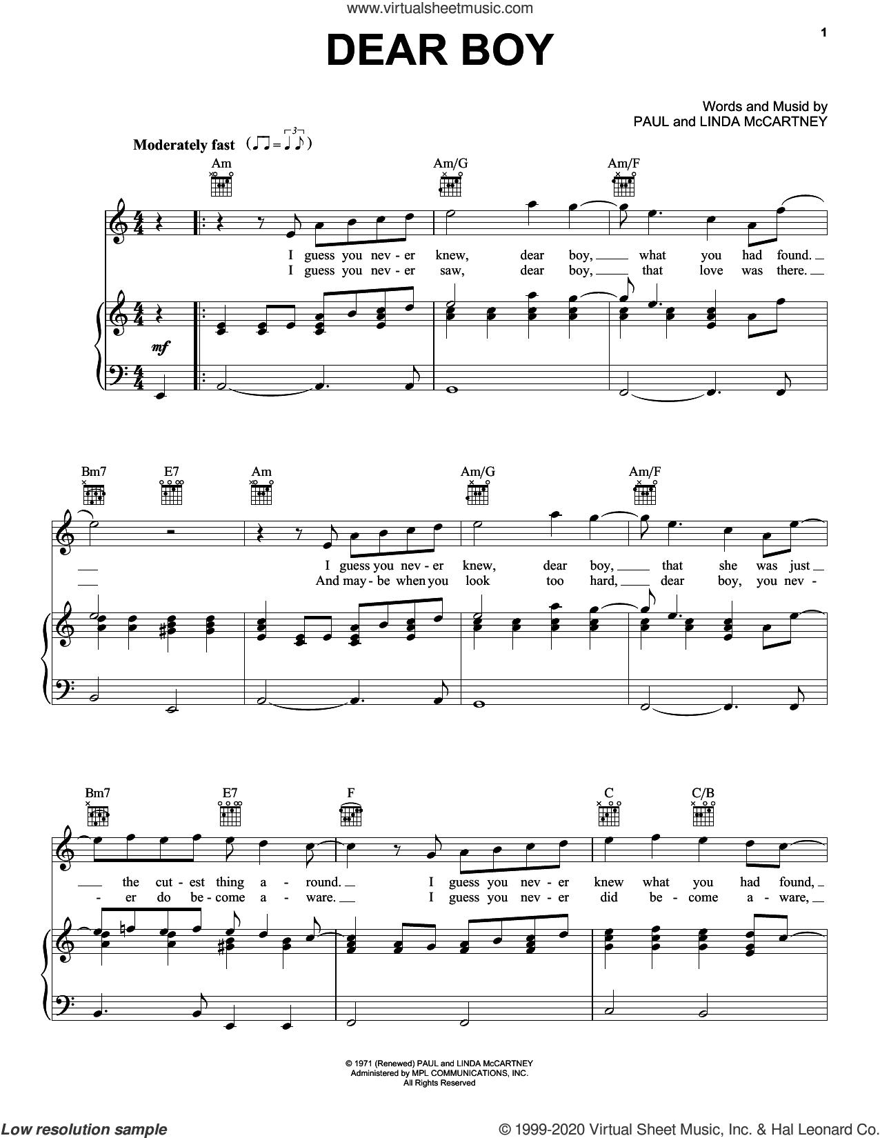 Dear Boy sheet music for voice, piano or guitar by Paul McCartney and Linda McCartney, intermediate skill level