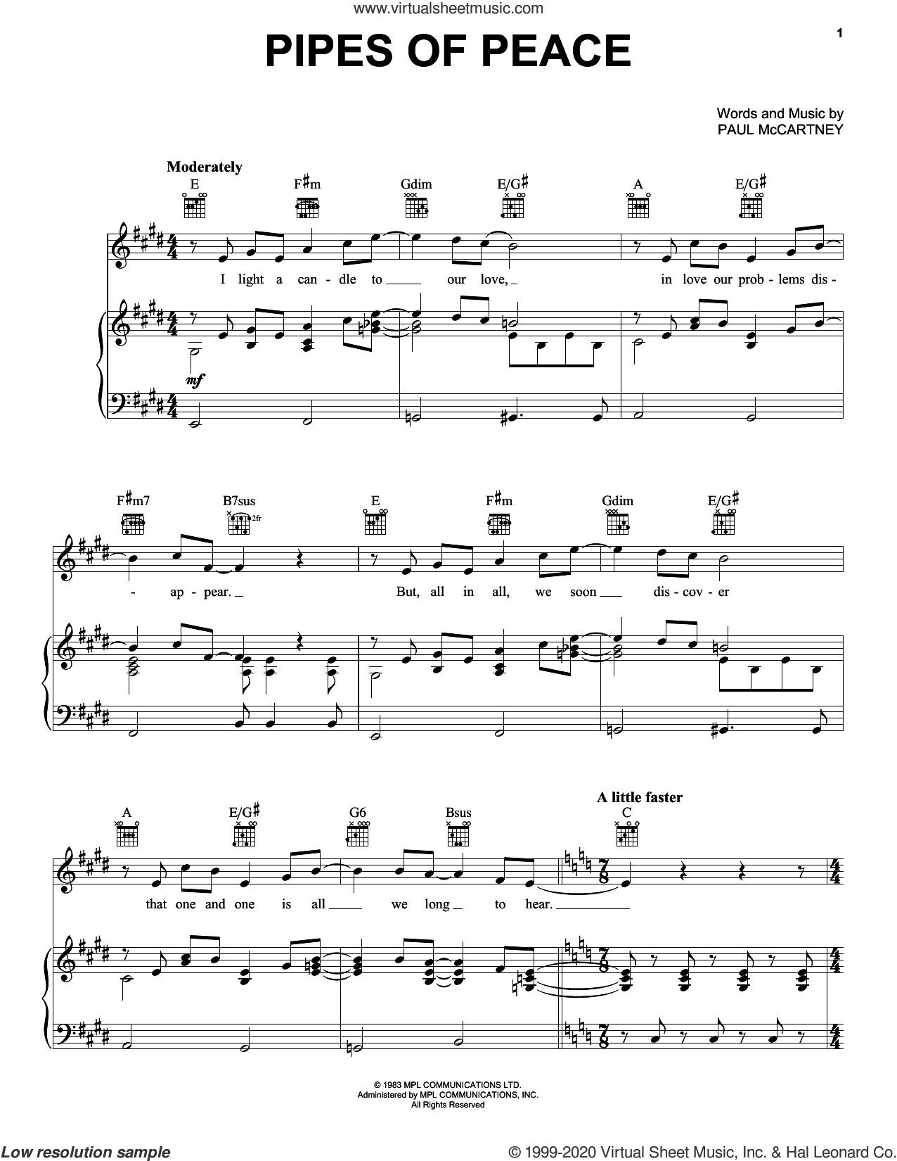 Pipes Of Peace sheet music for voice, piano or guitar by Paul McCartney, intermediate skill level