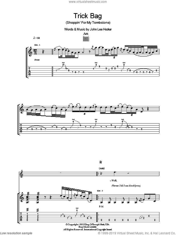 Trick Bag (Shopping For My Tombstone) sheet music for guitar (tablature) by John Lee Hooker, intermediate skill level