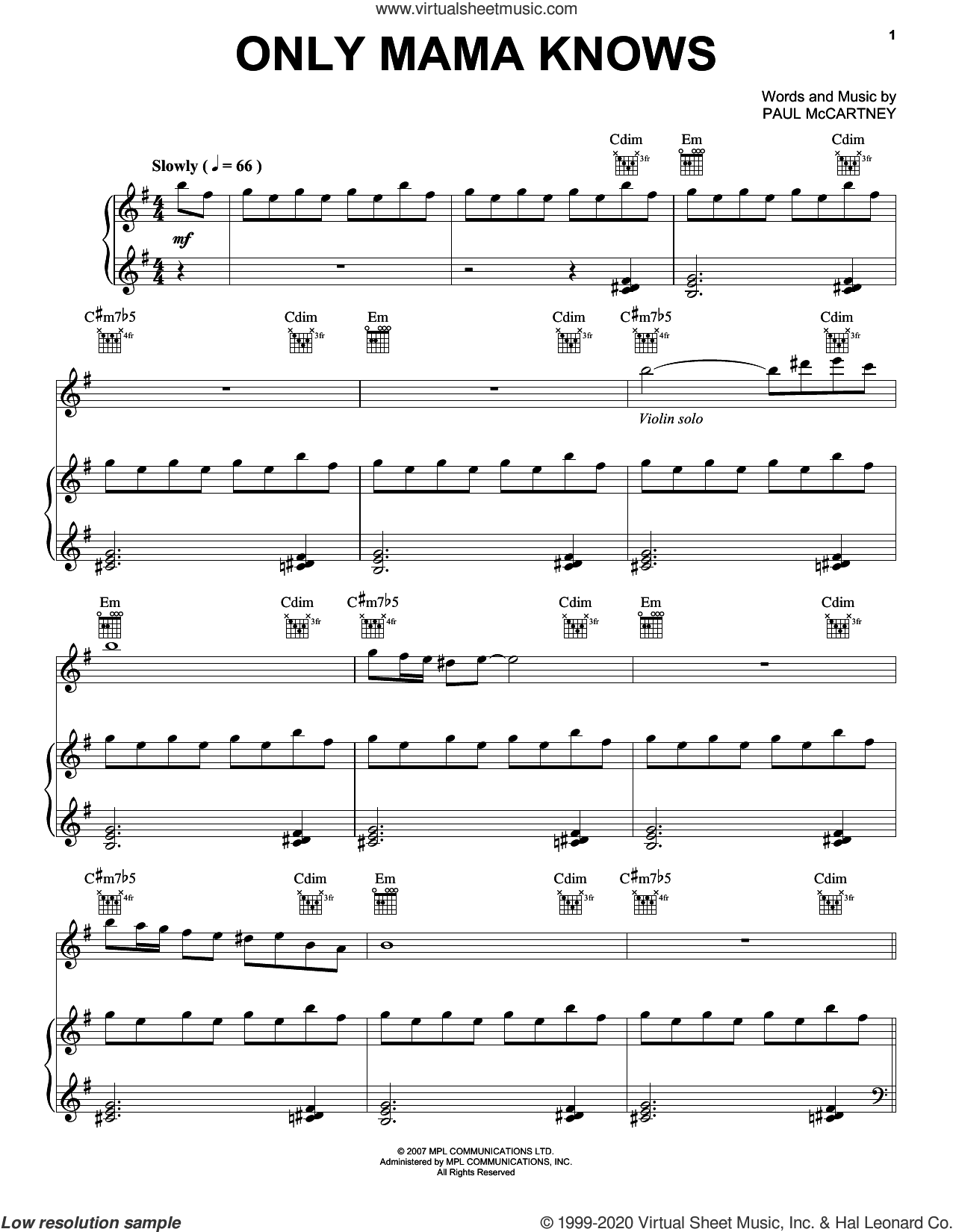 Only Mama Knows sheet music for voice, piano or guitar by Paul McCartney, intermediate skill level
