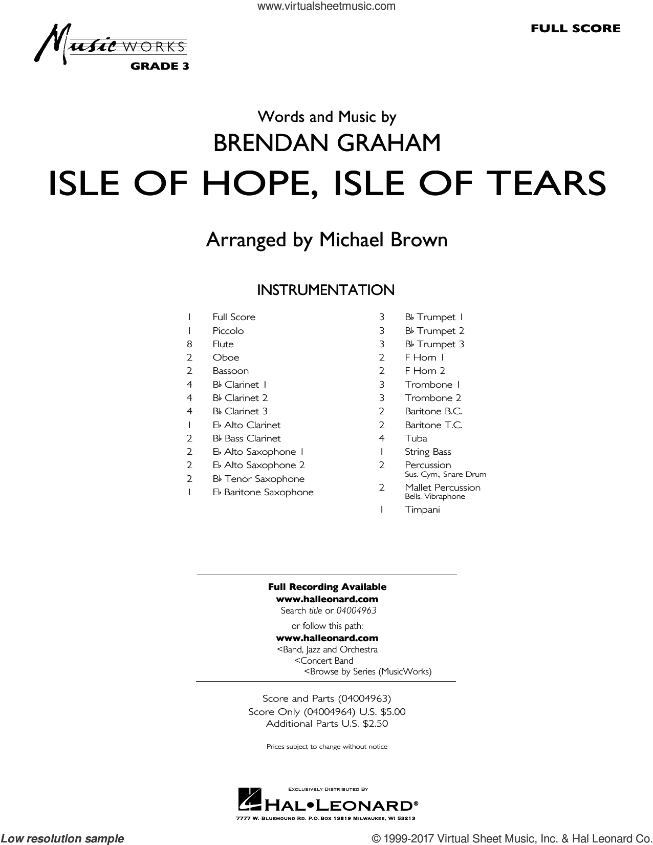 Isle of Hope, Isle of Tears (COMPLETE) sheet music for concert band by Michael Brown and Brendan Graham, intermediate. Score Image Preview.