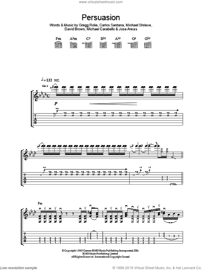 Persuasion sheet music for guitar (tablature) by Carlos Santana, David Brown, Gregg Rolie, Jose Areas, Michael Carabello and Michael Shrieve, intermediate skill level