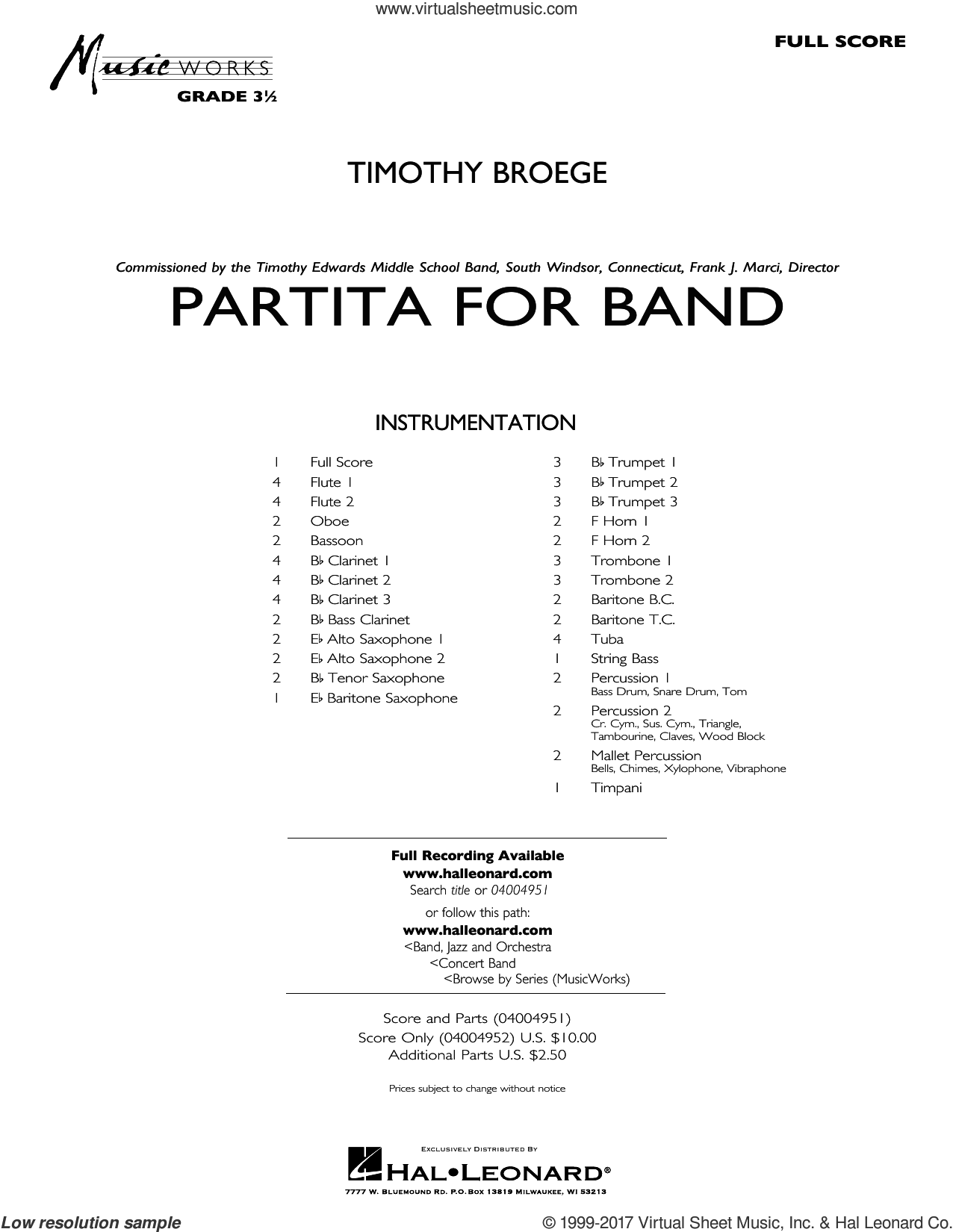Partita for Band (COMPLETE) sheet music for concert band by Timothy Broege, intermediate. Score Image Preview.