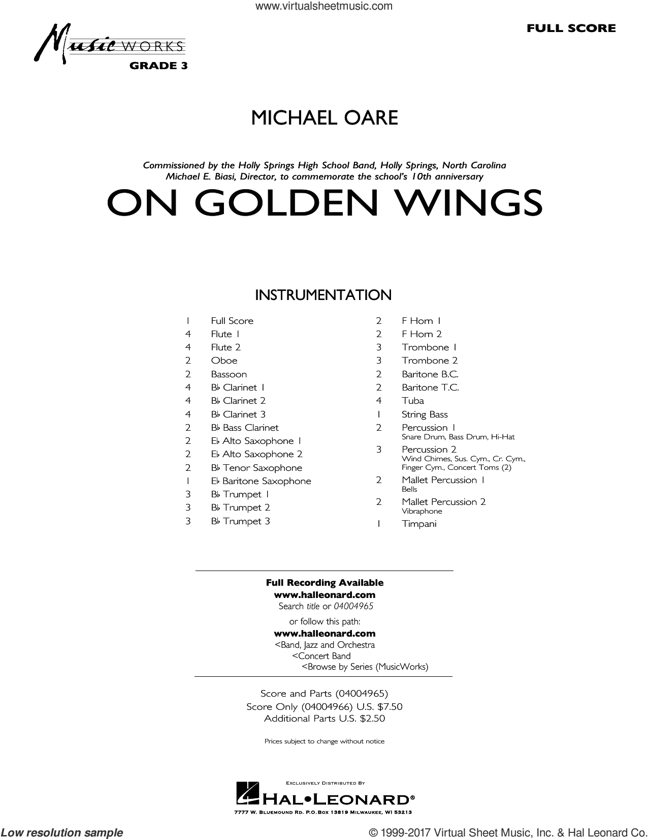 On Golden Wings sheet music for concert band (full score) by Michael Oare, intermediate. Score Image Preview.