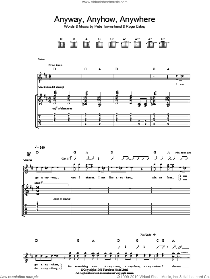 Anyway, Anyhow, Anywhere sheet music for guitar (tablature) by Pete Townshend, The Who and Roger Daltrey. Score Image Preview.