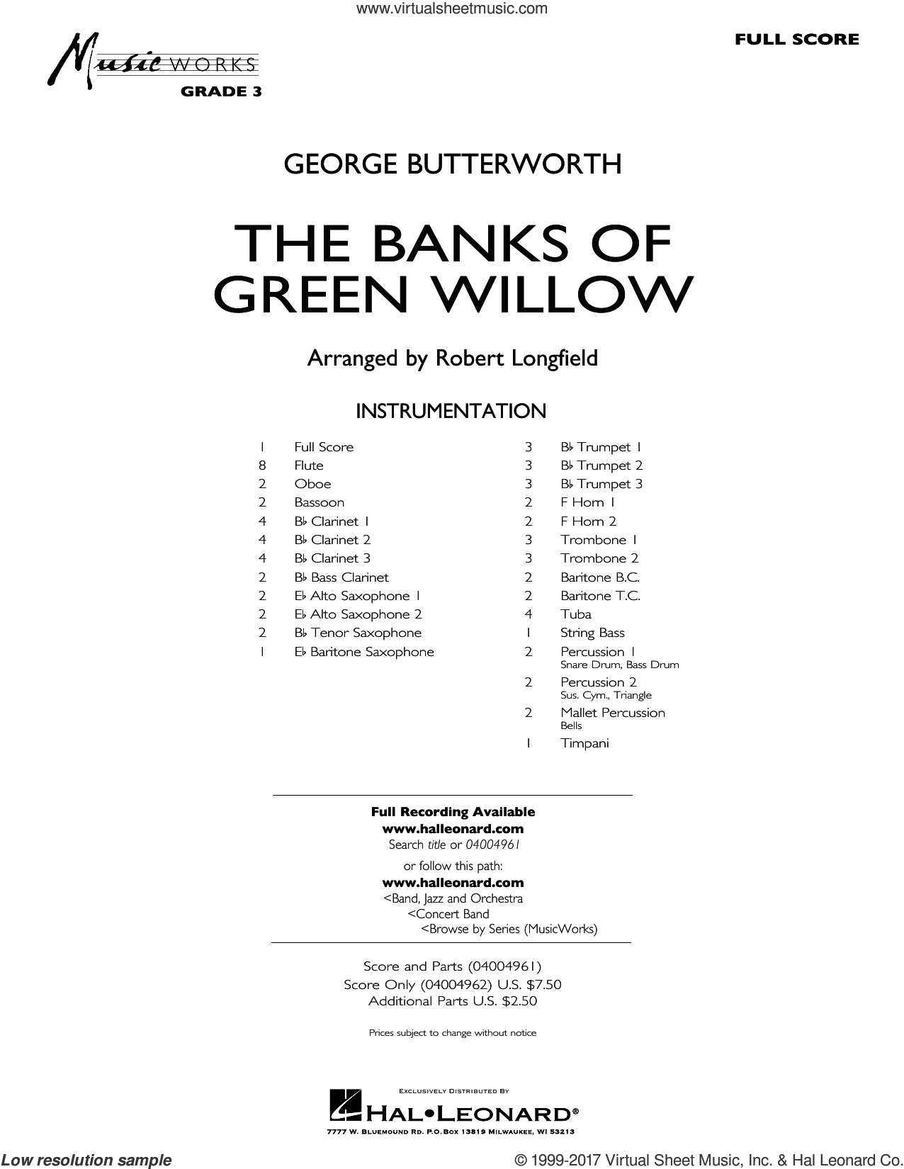 The Banks of Green Willow (COMPLETE) sheet music for concert band by Robert Longfield and George Butterworth, intermediate skill level