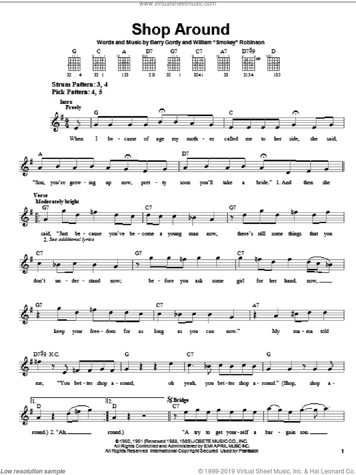 Shop Around sheet music for guitar solo (chords) by Smokey Robinson & The Miracles, Captain & Tennille, The Miracles and Berry Gordy, easy guitar (chords)