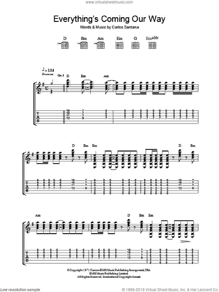Everything's Coming Our Way sheet music for guitar (tablature) by Carlos Santana, intermediate guitar (tablature). Score Image Preview.