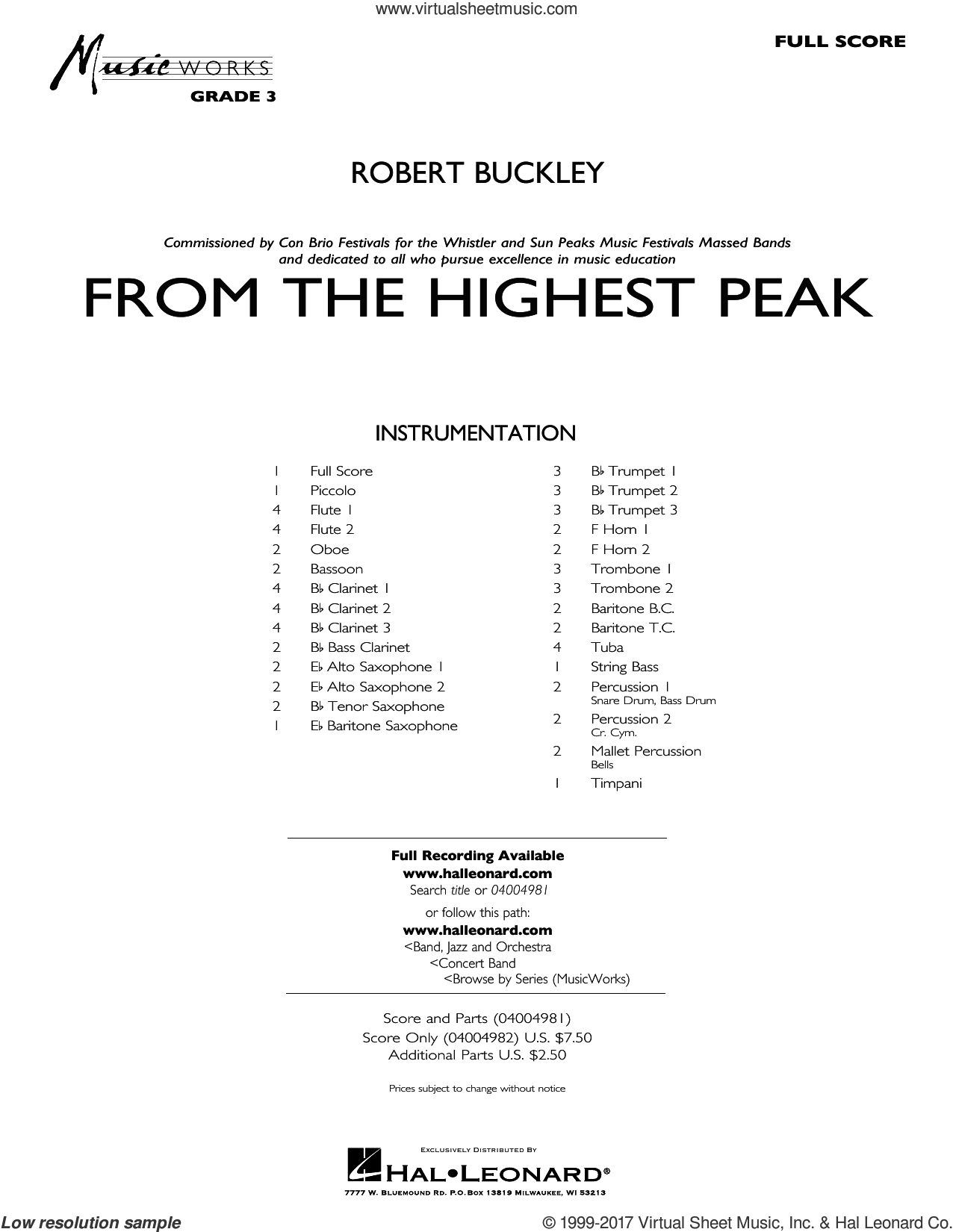 From the Highest Peak (COMPLETE) sheet music for concert band by Robert Buckley, intermediate. Score Image Preview.