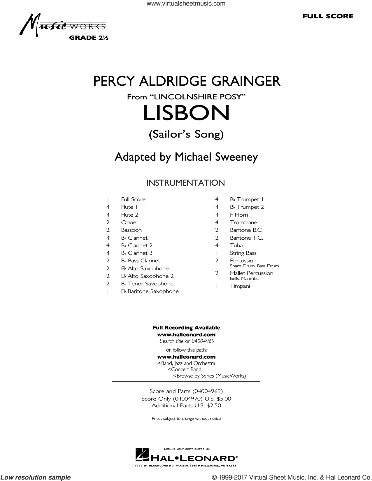 Lisbon (from Lincolnshire Posy) (COMPLETE) sheet music for concert band by Michael Sweeney and Percy Aldridge Grainger, intermediate skill level
