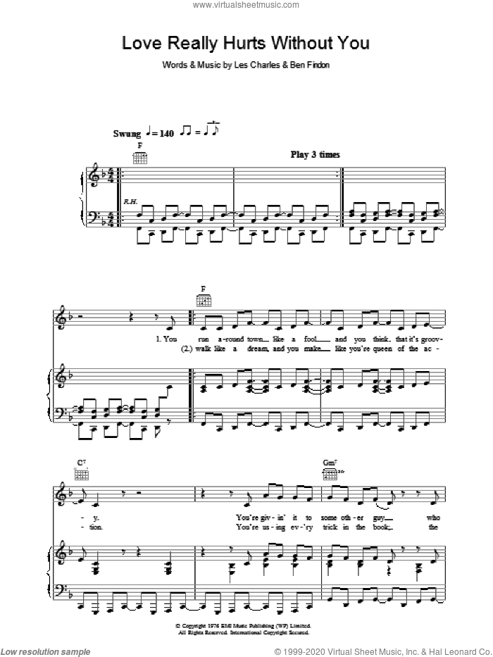Love Really Hurts Without You sheet music for voice, piano or guitar by Ben Findon and Les Charles