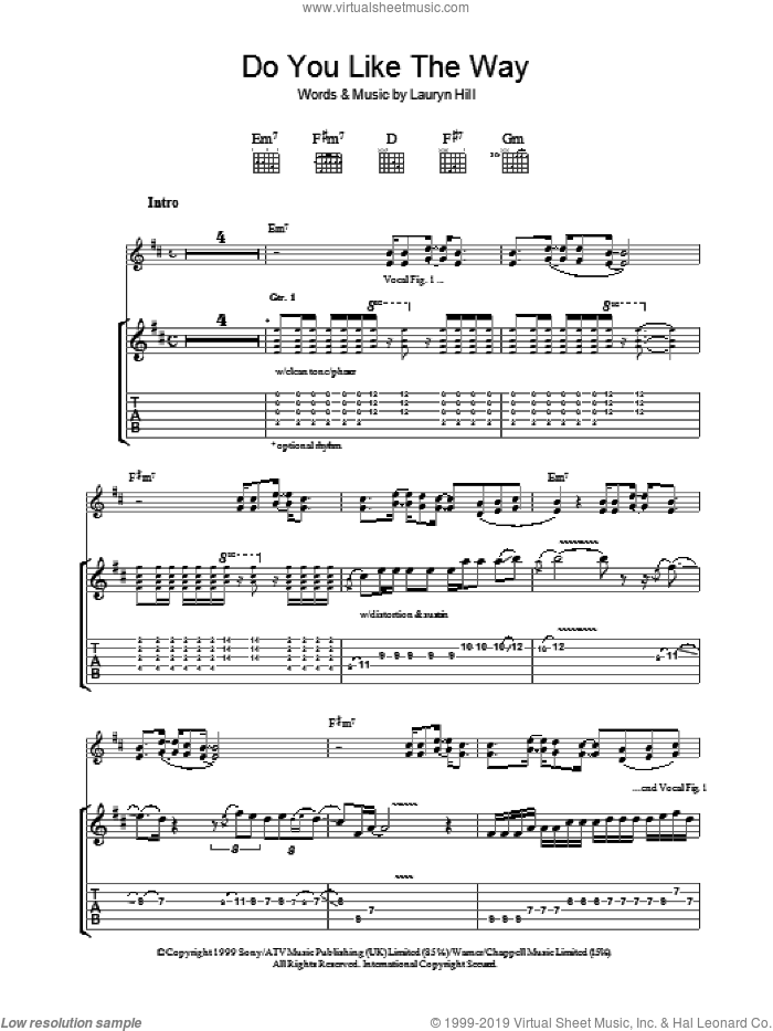 Do You Like The Way sheet music for guitar (tablature) by Johnny Nash, Carlos Santana and Lauryn Hill, intermediate skill level
