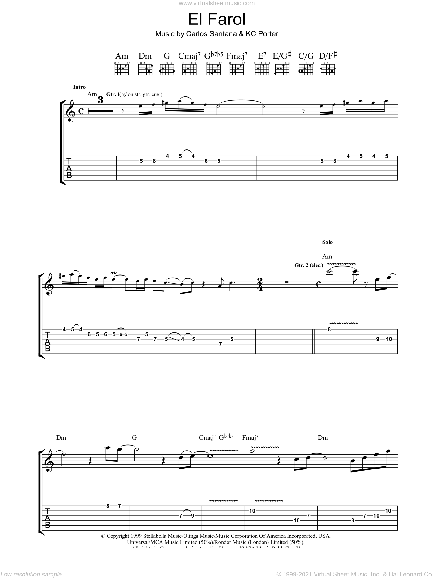 El Farol sheet music for guitar (tablature) by KC Porter and Carlos Santana. Score Image Preview.