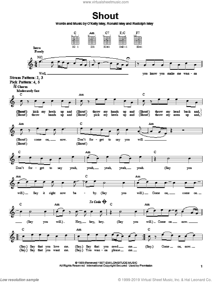 Shout sheet music for guitar solo (chords) by The Isley Brothers, O Kelly Isley, Ronald Isley and Rudolph Isley, easy guitar (chords). Score Image Preview.