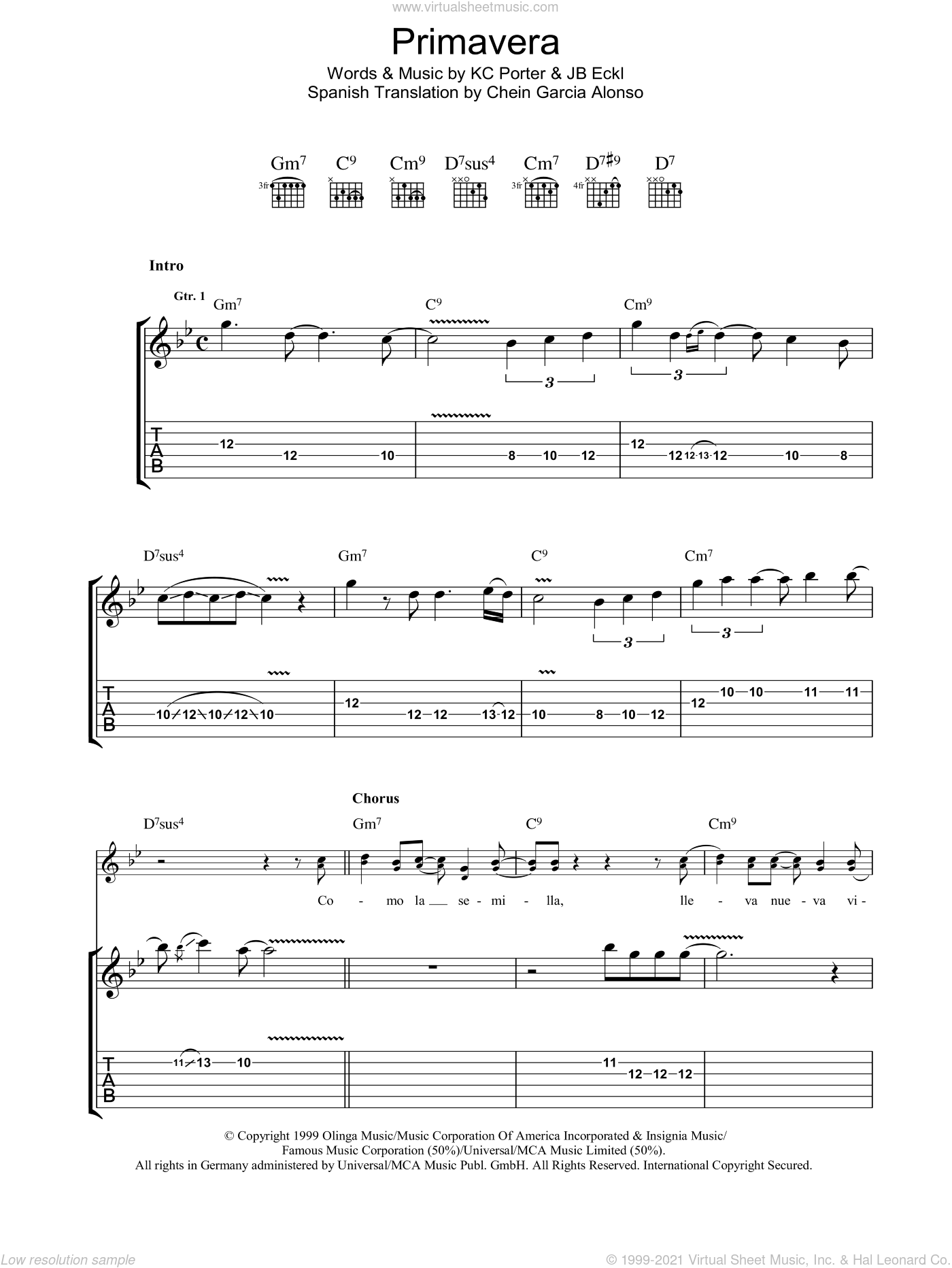 Primavera sheet music for guitar (tablature) by JB Eckl, Carlos Santana and KC Porter. Score Image Preview.