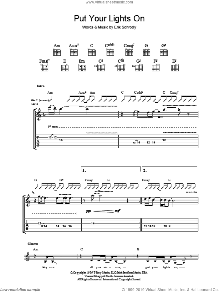 Put Your Lights On sheet music for guitar (tablature) by Erik Schrody and Carlos Santana, intermediate guitar (tablature). Score Image Preview.