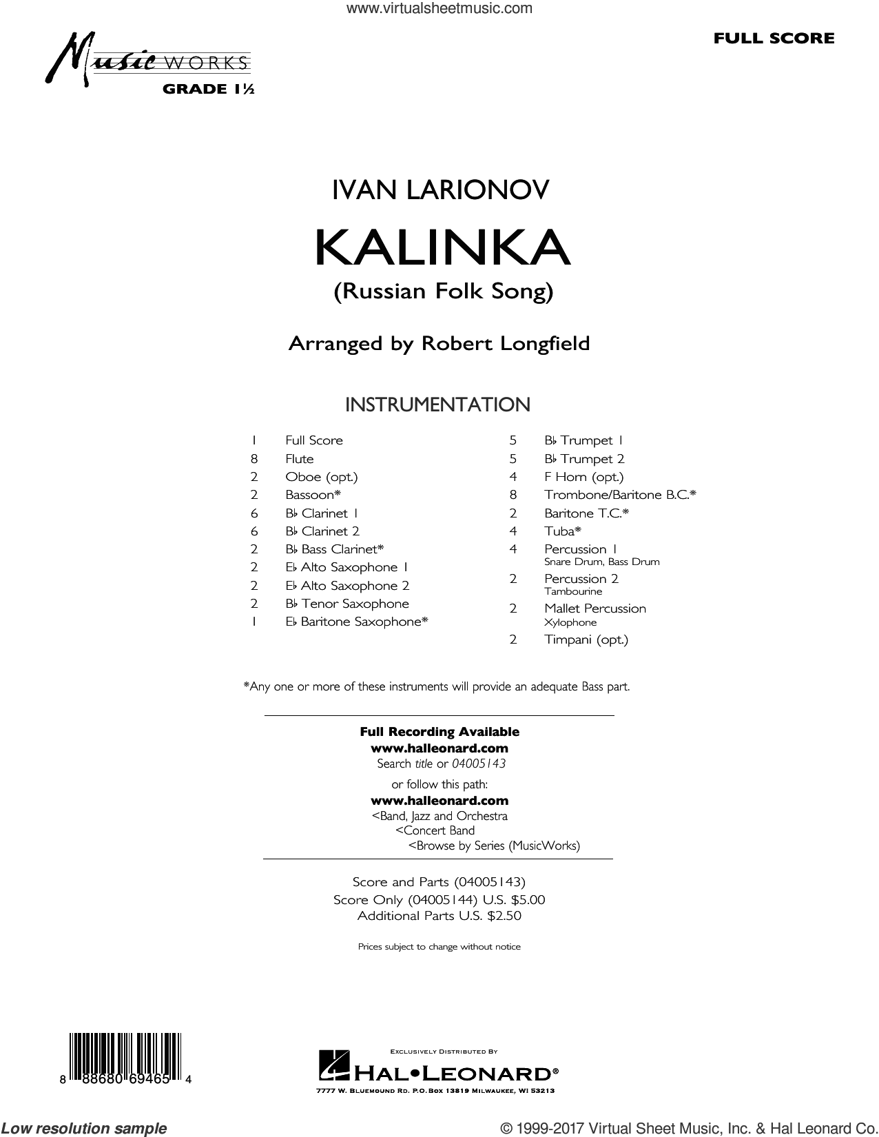 Kalinka (Russian Folk Song) (COMPLETE) sheet music for concert band by Robert Longfield, intermediate concert band. Score Image Preview.
