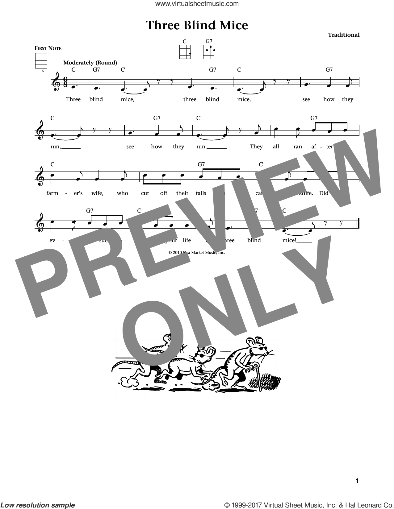 Three Blind Mice sheet music for ukulele. Score Image Preview.