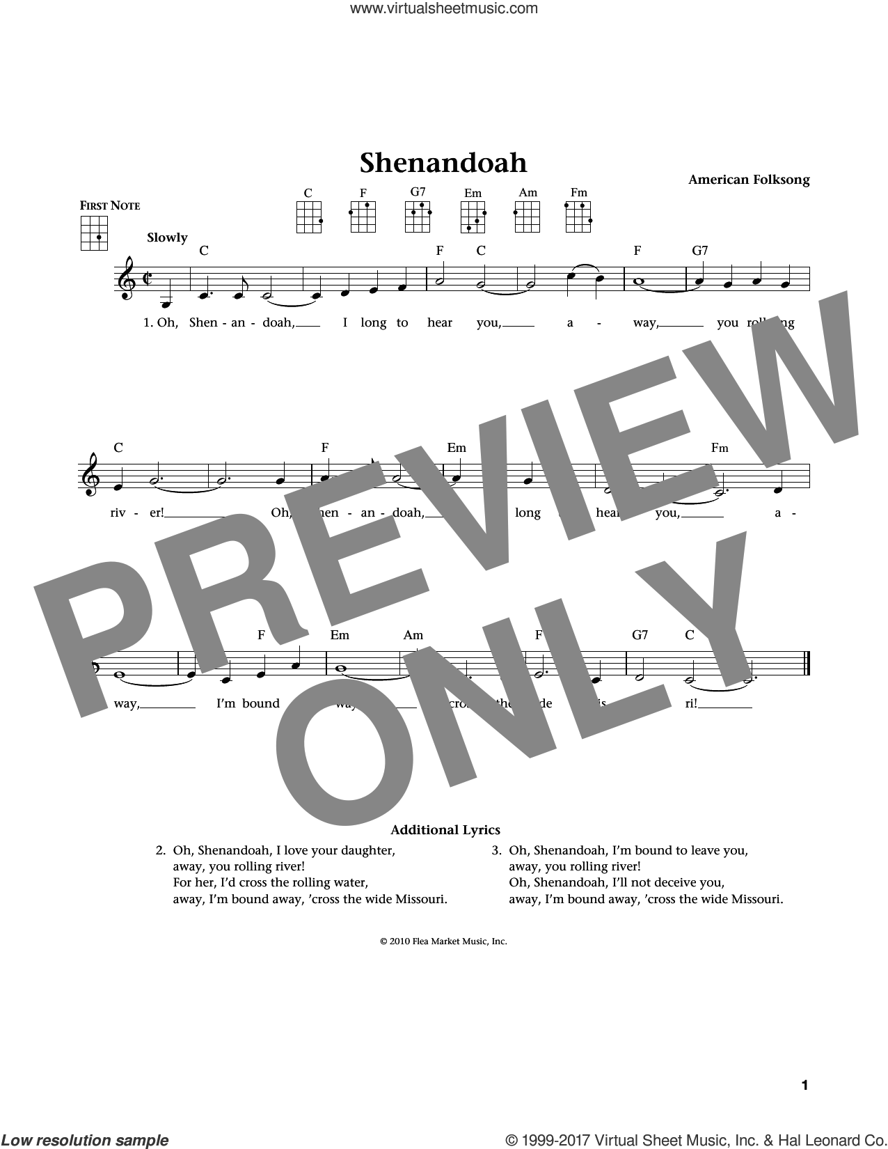 Shenandoah sheet music for ukulele by American Folksong, Jim Beloff and Liz Beloff, intermediate skill level