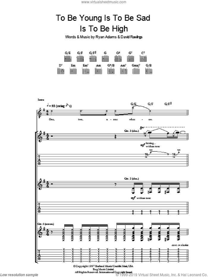 To Be Young (Is To Be Sad, Is To Be High) sheet music for guitar (tablature) by Ryan Adams, intermediate. Score Image Preview.