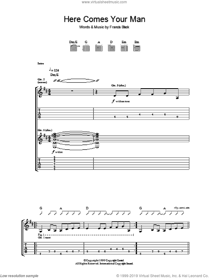 Here Comes Your Man sheet music for guitar (tablature) by Francis Black. Score Image Preview.