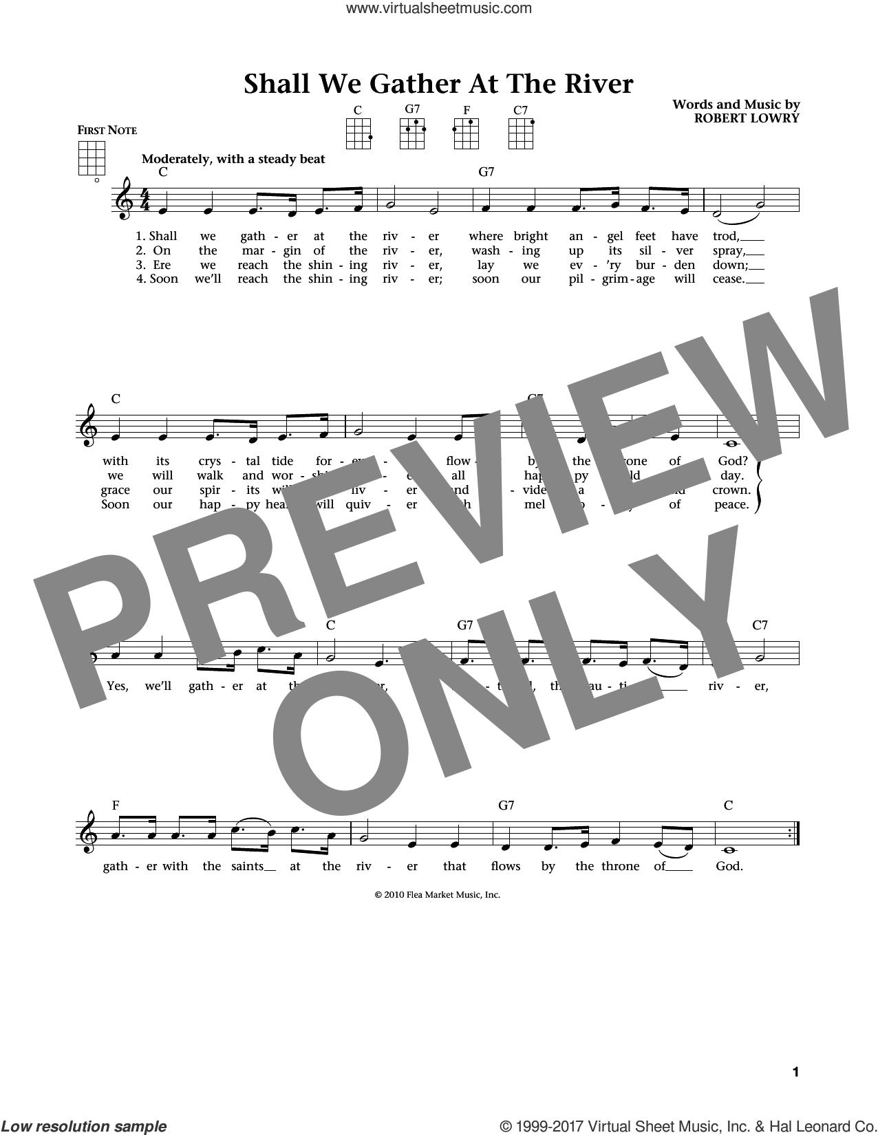 Shall We Gather At The River? (from The Daily Ukulele) (arr. Liz and Jim Beloff) sheet music for ukulele by Robert Lowry, Jim Beloff and Liz Beloff, intermediate skill level