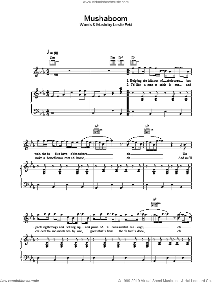 Mushaboom sheet music for voice, piano or guitar by Leslie Feist. Score Image Preview.