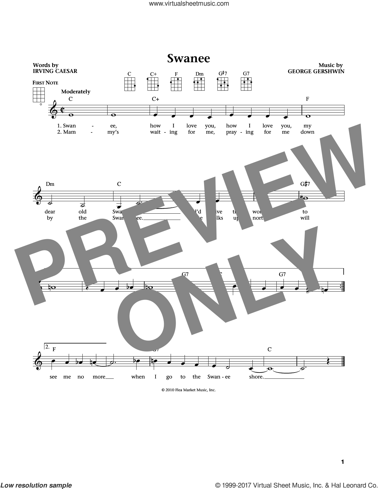 Swanee sheet music for ukulele by George Gershwin and Irving Caesar, intermediate ukulele. Score Image Preview.