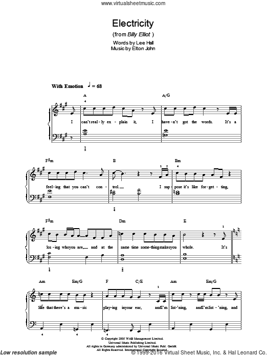 Electricity sheet music for piano solo (chords) by Lee Hall