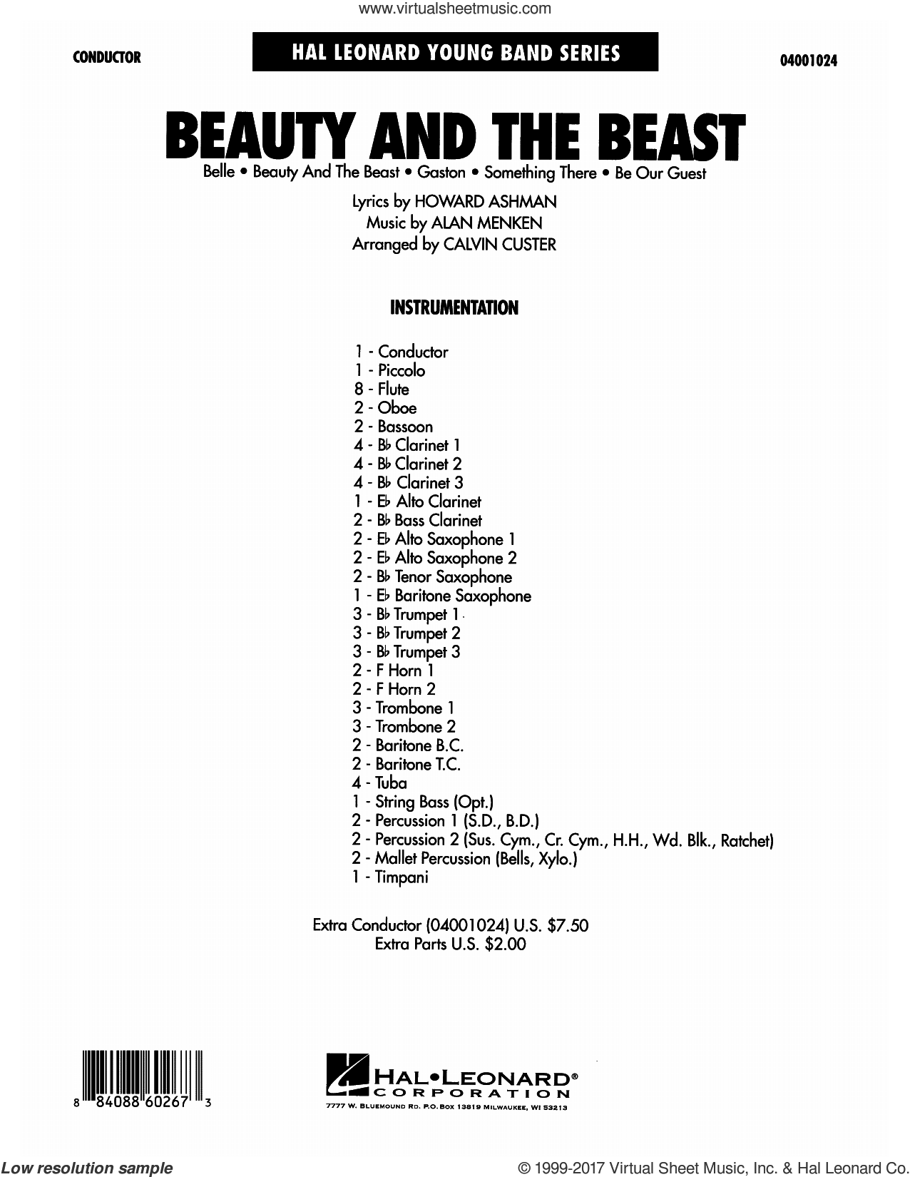 Beauty and the Beast (Medley) (COMPLETE) sheet music for concert band by Calvin Custer, Alan Menken and Howard Ashman, intermediate concert band. Score Image Preview.