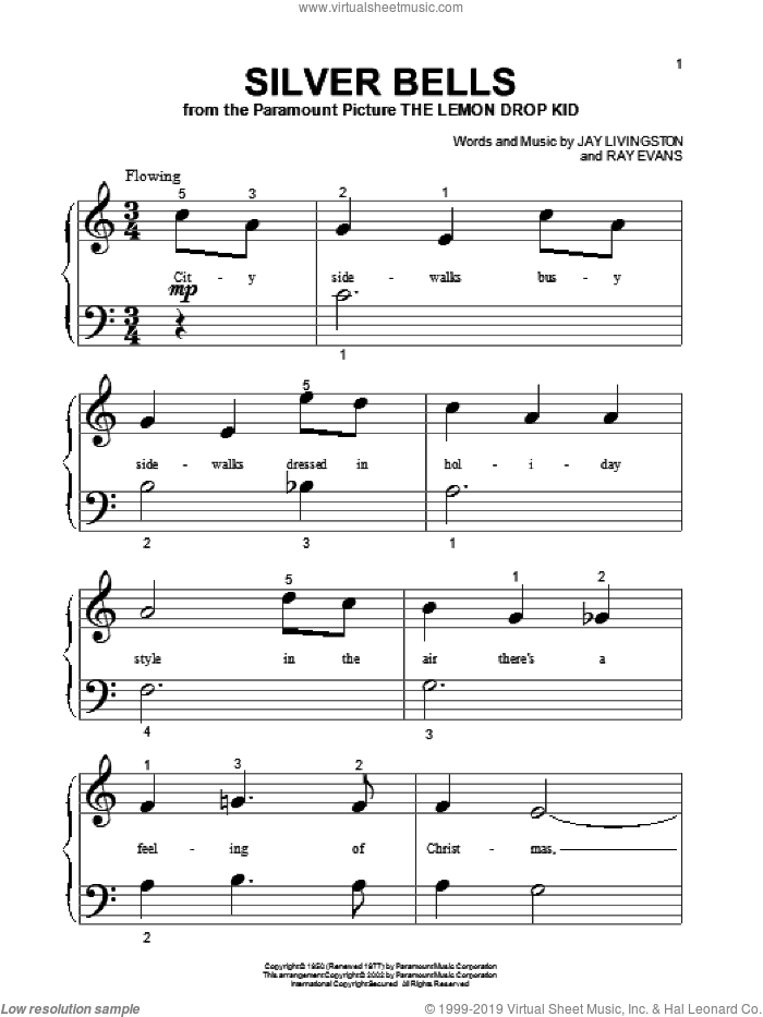Silver Bells sheet music for piano solo (big note book) by Jay Livingston and Ray Evans, easy piano (big note book)