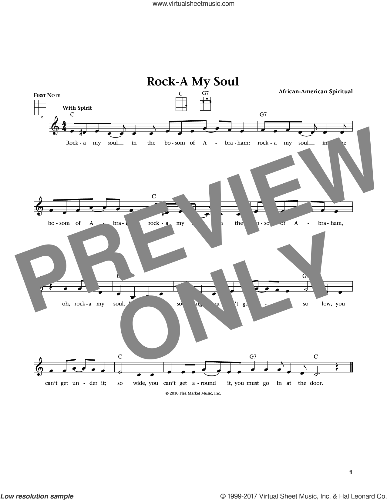 Rock-A-My Soul sheet music for ukulele , Jim Beloff and Liz Beloff, intermediate skill level