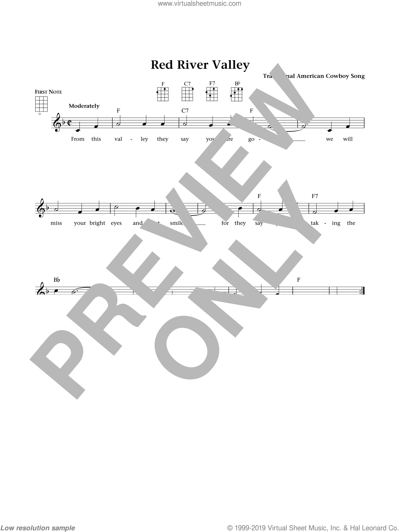 The Red River Valley sheet music for ukulele by Traditional American Cowboy So, Jim Beloff and Liz Beloff, intermediate skill level