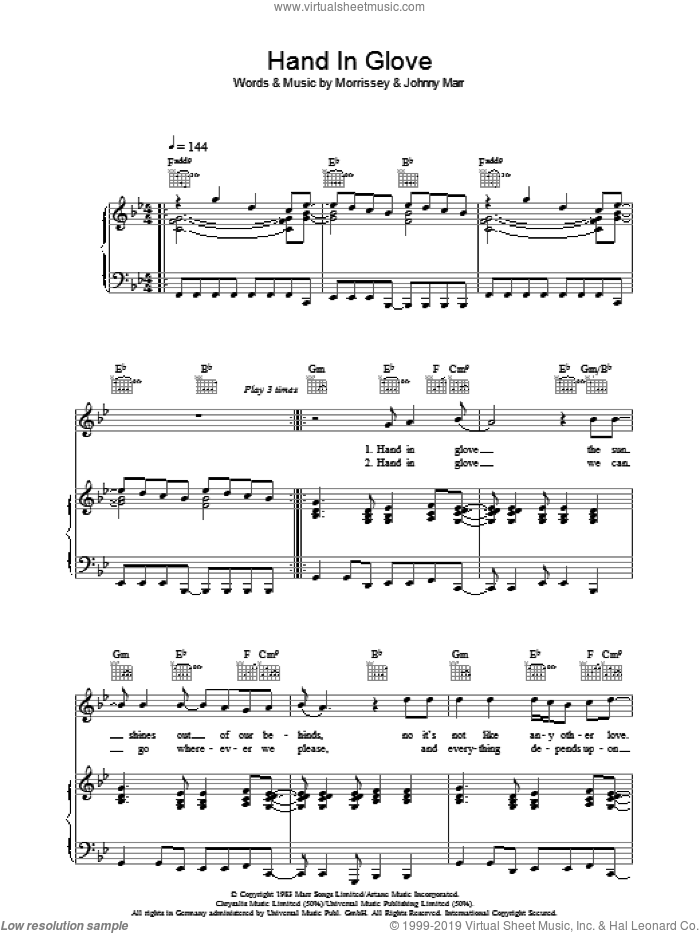 Hand In Glove sheet music for voice, piano or guitar by Johnny Marr, The Smiths and Steven Morrissey. Score Image Preview.