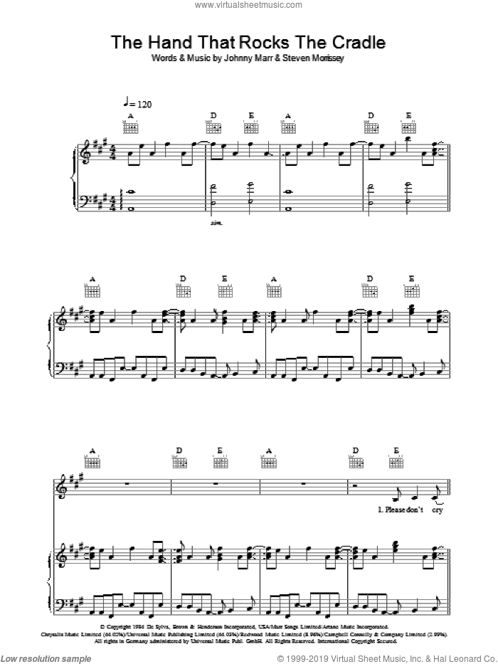 The Hand That Rocks The Cradle sheet music for voice, piano or guitar by The Smiths, Johnny Marr and Steven Morrissey, intermediate voice, piano or guitar. Score Image Preview.