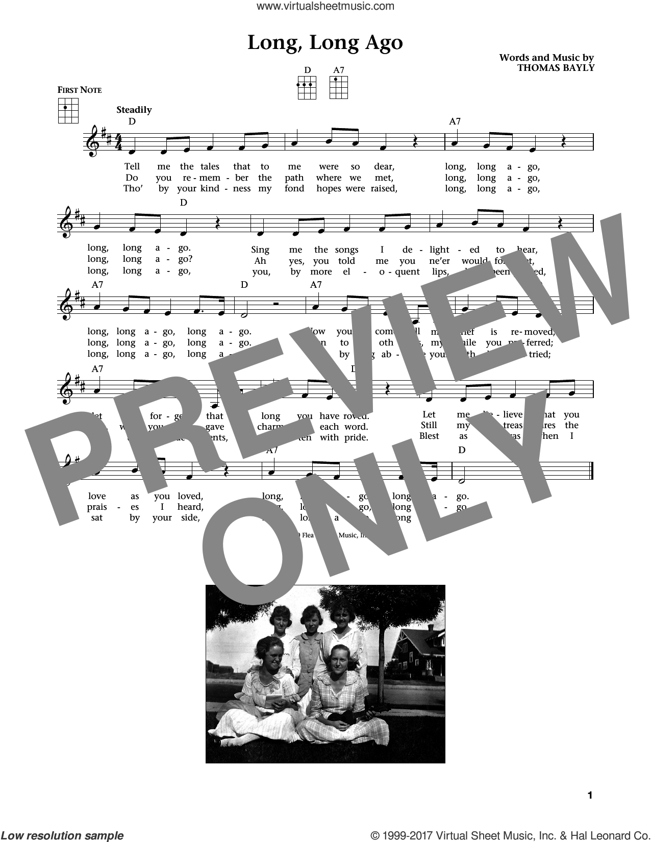 Long, Long Ago (from The Daily Ukulele) (arr. Liz and Jim Beloff) sheet music for ukulele by Thomas Bayly, Jim Beloff and Liz Beloff, intermediate skill level