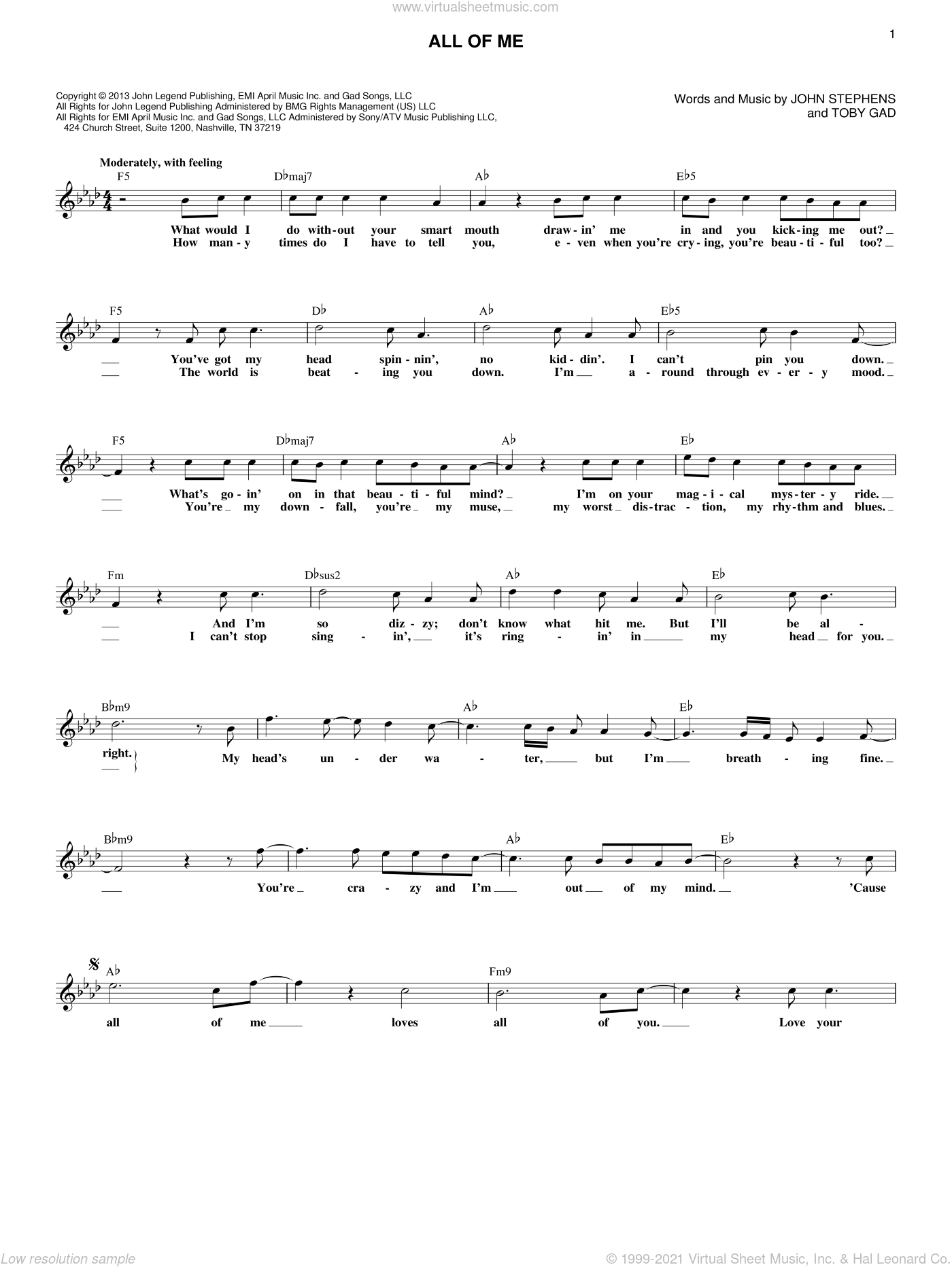 All Of Me sheet music for voice and other instruments (fake book) by John Legend, John Stephens and Toby Gad, wedding score, intermediate skill level